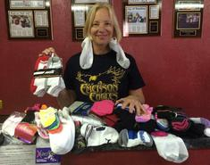 Librarian Mrs. Stevens Sock Donations to Joy Junction Dec 2014